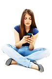 Beautiful teenage girl with cell phone Royalty Free Stock Images