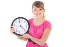 Beautiful teenage girl with clock isolated over white Stock Image