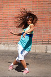 Beautiful teenage girl dancing hip-hop Royalty Free Stock Photos