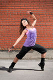 Beautiful teenage girl dancing hip-hop Royalty Free Stock Image