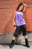 Beautiful teenage girl dancing hip-hop Stock Photography