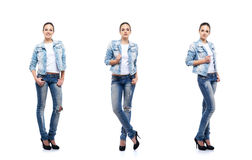 Beautiful teenage girl in denim jeans on white. Young and beautiful teenage girl in denim jeans isolated on white. Set collection Stock Images