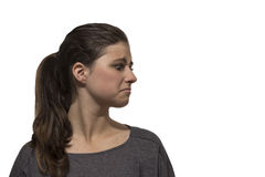 Beautiful teenage girl disgusted portrait Stock Photos