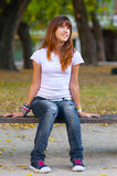 Beautiful teenage girl enjoys the nature Royalty Free Stock Photo