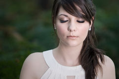 Beautiful Teenage Girl with Eyes Shut Royalty Free Stock Photography