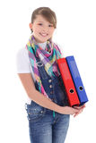 Beautiful teenage girl with folders over white Royalty Free Stock Image
