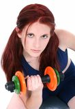 Beautiful Teenage Girl With Hand Weights Stock Image