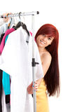 Beautiful teenage girl in her own dressing room. White background Stock Photos
