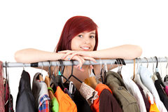 Beautiful teenage girl in her own dressing room. White background Royalty Free Stock Photos