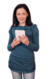 Teenage girl hold tablet pc Royalty Free Stock Photos