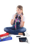 Beautiful teenage girl listening music with tablet pc Royalty Free Stock Image