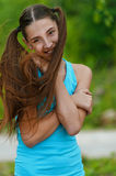 Beautiful teenage girl with long Stock Photography