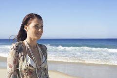Beautiful Teenage Girl Looking Away Beach Stock Photography