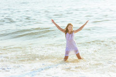 beautiful teenage girl on the ocean Royalty Free Stock Images