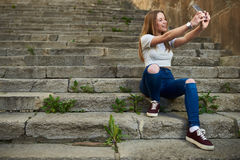 Beautiful Teenage Girl in the Old Town Royalty Free Stock Photos
