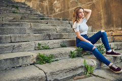 Beautiful Teenage Girl in the Old Town Royalty Free Stock Image