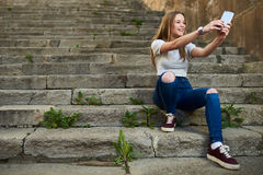 Beautiful Teenage Girl in the Old Town Royalty Free Stock Images