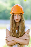 Beautiful teenage girl in an orange Royalty Free Stock Photography