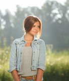 Beautiful teenage girl outdoors Stock Photography