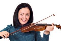 Beautiful teenage girl play violin Stock Photos