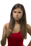 Beautiful teenage girl portrait angry threatening Royalty Free Stock Photo