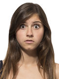 Beautiful teenage girl portrait surprised scared Royalty Free Stock Photos