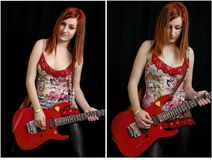 Beautiful teenage girl with a red electric guitar Royalty Free Stock Photos
