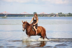 Beautiful teenage girl riding horse in the river Royalty Free Stock Photography