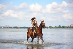 Beautiful teenage girl riding horse in the river Royalty Free Stock Photo
