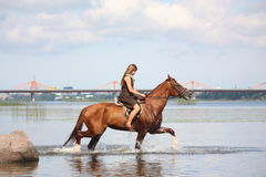 Beautiful teenage girl riding horse in the river Royalty Free Stock Images
