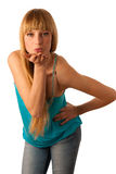 Beautiful teenage girl sending a kiss Stock Image