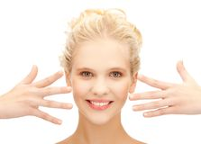 Beautiful teenage girl showing her hands Royalty Free Stock Photos