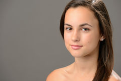 Beautiful teenage girl skin care cosmetics Stock Images