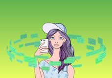 Beautiful teenage girl with a smartphone in the circle of text messages and speech bubbles. Social media concept. Line stock illustration