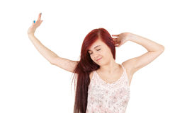 Beautiful teenage girl stretch limbs Royalty Free Stock Photography