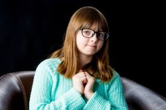 Teenage girl, studio photo royalty free stock photos