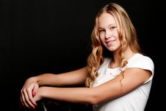 Teenage girl, studio photo royalty free stock image