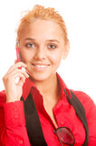 Beautiful teenage girl talking on cell phone Stock Images