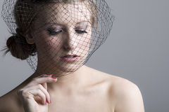 Beautiful Teenage Girl in Veil Stock Images