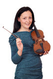 Beautiful teenage girl with violin portrait Royalty Free Stock Images