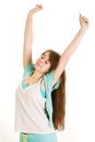 Beautiful teenage girl wakes up Royalty Free Stock Image