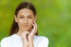 Beautiful teenage girl in white Royalty Free Stock Photography