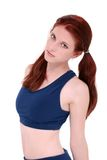 Beautiful Teenage Girl In Workout Clothes Over White Royalty Free Stock Image