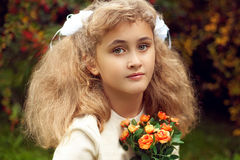 Beautiful teenage girl 10 years old, adorable face looking strai Royalty Free Stock Photos