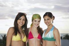 Beautiful Teenage Girls In Bikinis Smiling stock photo