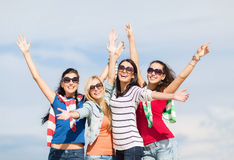 Beautiful teenage girls or young women having fun Royalty Free Stock Photos