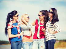 Beautiful teenage girls or young women having fun Stock Images