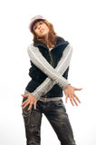 Beautiful teenage rapper girl slowly dances Stock Image