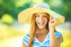 Beautiful teenage in wide-brimmed hat Royalty Free Stock Photography