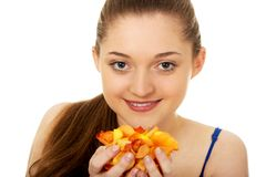 Young woman with rose petals. stock photography